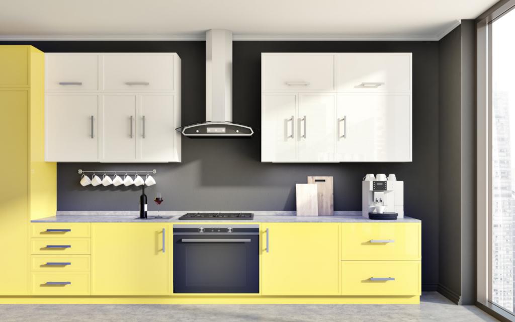 Cozinha decorada com as cores da Pantone 2021.
